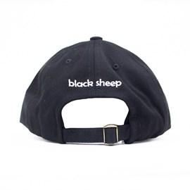 Boné Black Sheep Aba Curva Couro Quadrado Preto