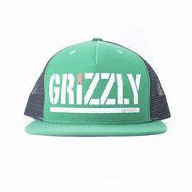 Bone Grizzly Colored Bear Trucker Green
