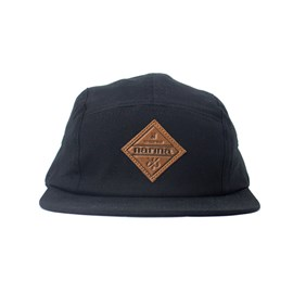 Bone Narina Five Panel Logo Couro Preto