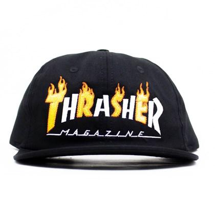 Boné Thrasher Magazine Flame Snapback Preto