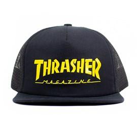 Boné Thrasher Magazine Trucker Logo Mesh Preto