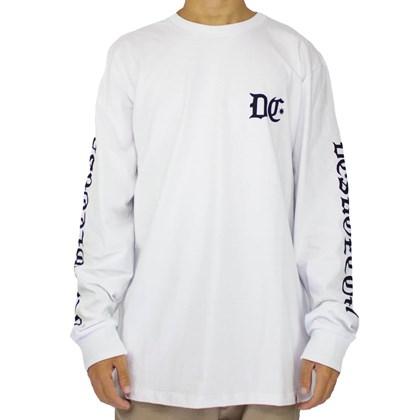 Camiseta Dc Shoes Old School Manga Longa Branco