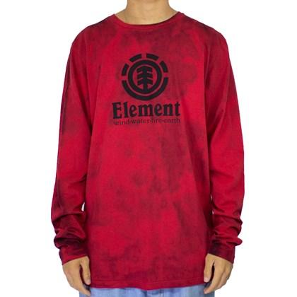 Camiseta Element Vertical Manga Longa Vermelho