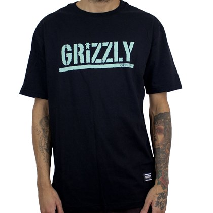 Camiseta Grizzly Stamped Gma1901p14 Black Celedon