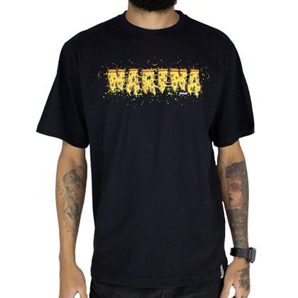 Camiseta Narina Escrita Pizza Preta