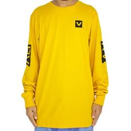 Camiseta Rvca Manga Longa Divides Amarelo