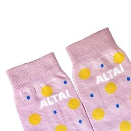 Meia Altai Company Poa Bolinhas Rosa